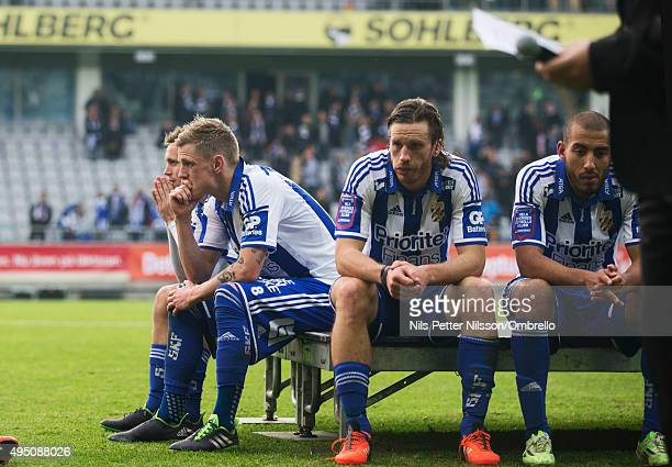 Players of IFK Goteborg dejected after the match between IFK Goteborg and Kalmar FF at Gamla Ullevi on October 31 2015 in Gothenburg Sweden