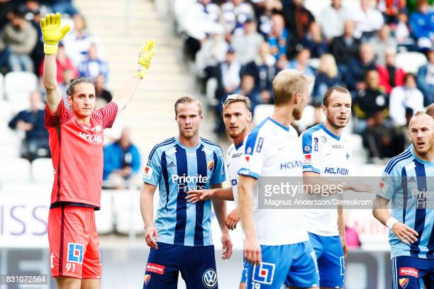 Players of IFK Norrkoping and of Djurgardens IF during the Allsvenskan match between IFK Norrkoping and Djurgardens IF on August 13 2017 in...