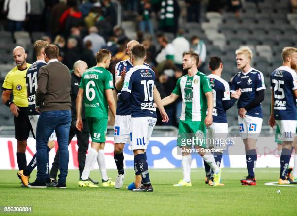Players of IFK Norrkoping and of Hammarby IF thanking each other after the Allsvenskan match between Hammarby IF and IFK Norrkoping at Tele2 Arena on...