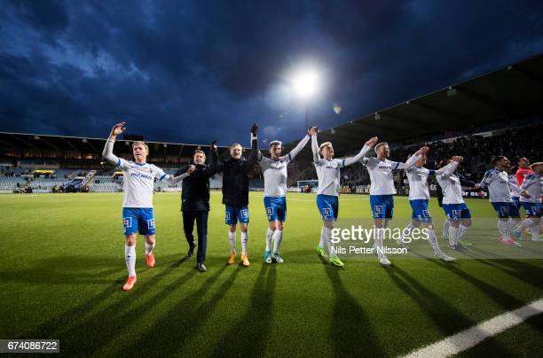 Players of IFK Norrkoping celebrates after the victory during the Allsvenskan match between IFK Norrkoping and Jonkopings Sodra IF at Ostgotaporten...