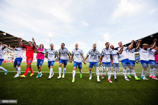 players of IFK Norrkoping celebrates after the victory during the Allsvenskan match between IFK Norrkoping and Halmstad BK at Ostgotaporten on May 27...