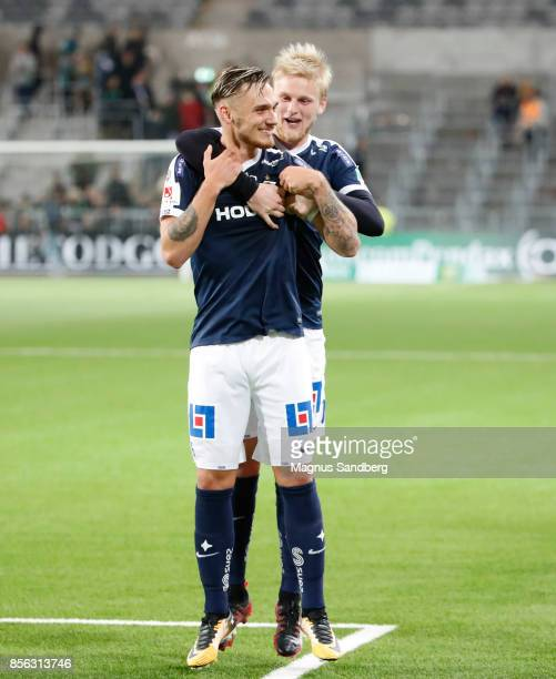 Players of IFK Norrkoping celebrates after the victory during the Allsvenskan match between Hammarby IF and IFK Norrkoping at Tele2 Arena on October...