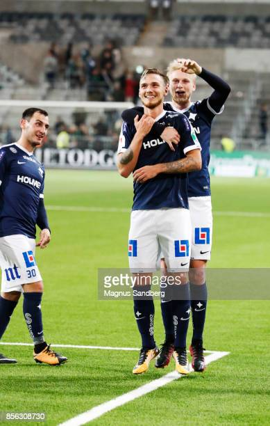 Players of IFK Norrkoping celebrates after the victory in the Allsvenskan match between Hammarby IF and IFK Norrkoping at Tele2 Arena on October 1...