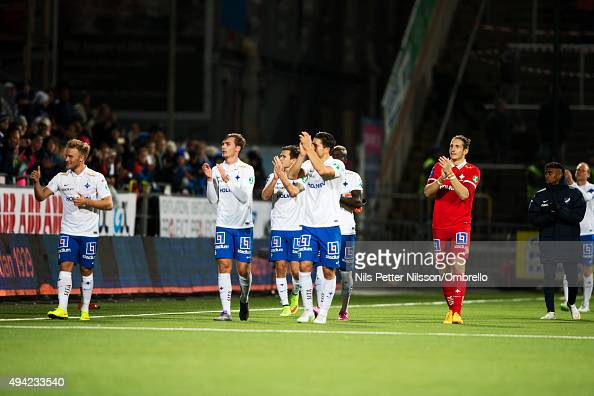 Players of IFK Norrkoping celebrates the win after the IFK Norrkoping vs Halmstad BK Allsvenskan match at Nya Parken on October 25 2015 in Norrkoping...