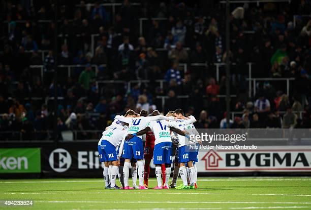 Players of IFK Norrkoping during the IFK Norrkoping vs Halmstad BK Allsvenskan match at Nya Parken on October 25 2015 in Norrkoping Sweden