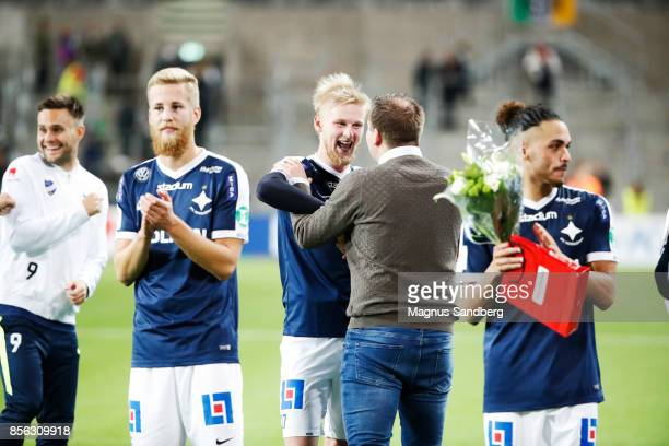 Players of IFK Norrkoping thanks their fans after the victory in the Allsvenskan match between Hammarby IF and IFK Norrkoping at Tele2 Arena on...