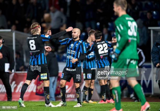 Players of IK Sirius FK celebrates after the victory during the Allsvenskan match between IK Sirius and Djurgardens IF at Studenternas IP on October...