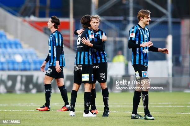 Players of IK Sirius FK celebrates after the victory during the Allsvenskan match between IFK Norrkoping and IF Sirius FK at Ostgotaporten on April...