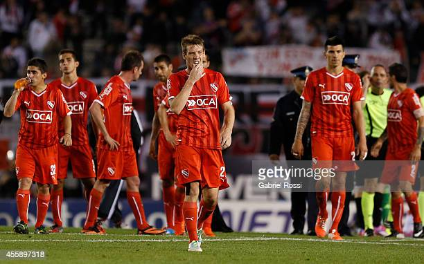 Players of Independiente leave the field at the end of the match between River Plate and Independiente as part of ninth round of Torneo de Transicion...