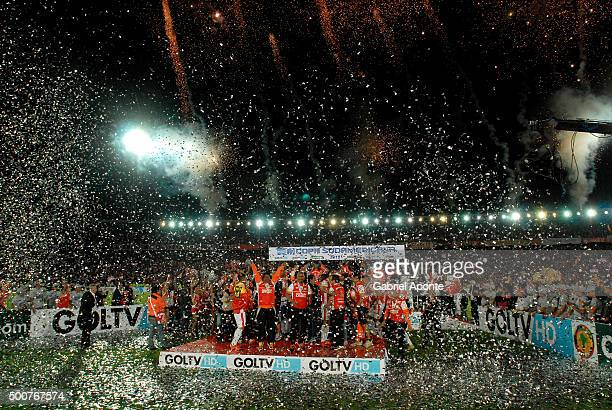 Players of Independiente Santa Fe celebrate after winning Copa Sudamericana 2015 championship after a final match between Independiente Santa Fe and...