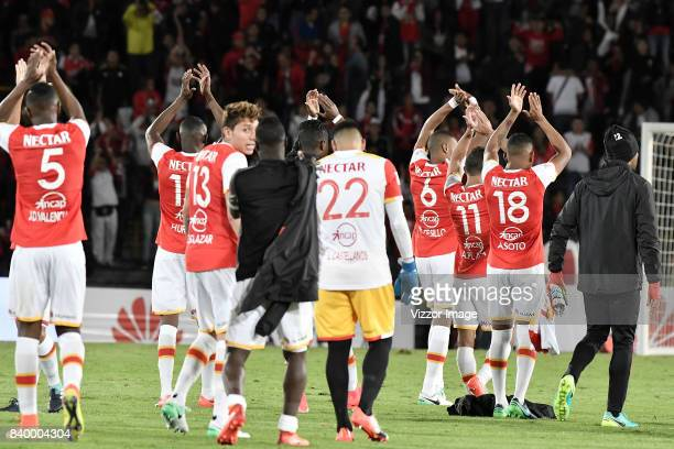 Players of Independiente Santa Fe celebrate after winning the match between Independiente Santa Fe and Millonarios as part of Liga Aguila II 2017 at...