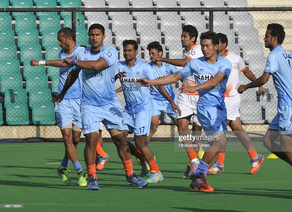 Players of Indian Mens Field Hockey Team doing exercises during a preparatory camp for Sultan Azlan Shah Cup at the Major Dhyan Chand National...