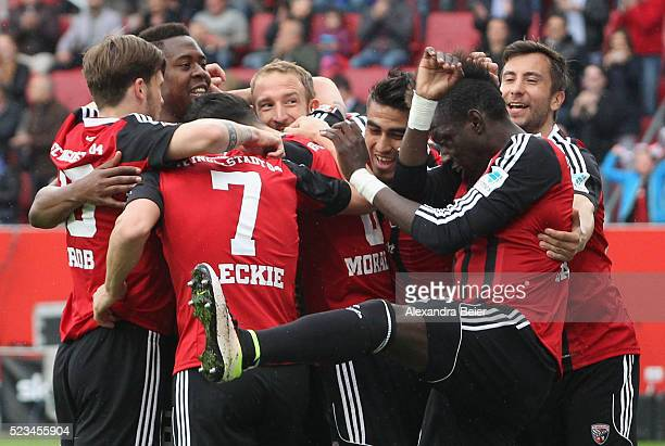 Players of Ingolstadt celebrate the first goal of his teammate Alfredo Morales during the Bundesliga match between FC Ingolstadt and Hannover 96 at...