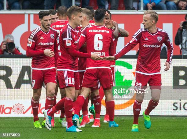 Players of Ingolstadt celebrate the opening goal during the Bundesliga match between FC Ingolstadt 04 and Werder Bremen at Audi Sportpark on April 22...