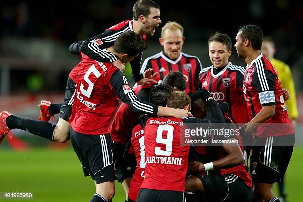 Players of Ingolstadt celebrate the opening goal during the Second Bundesliga match between FC Ingolstadt and 1860 Muenchen at Audi Sportpark on...