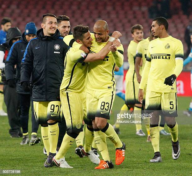 PLayers of Inter celebrate after the TIM Cup match between SSC Napoli and FC Internazionale Milano at Stadio San Paolo on January 19 2016 in Naples...