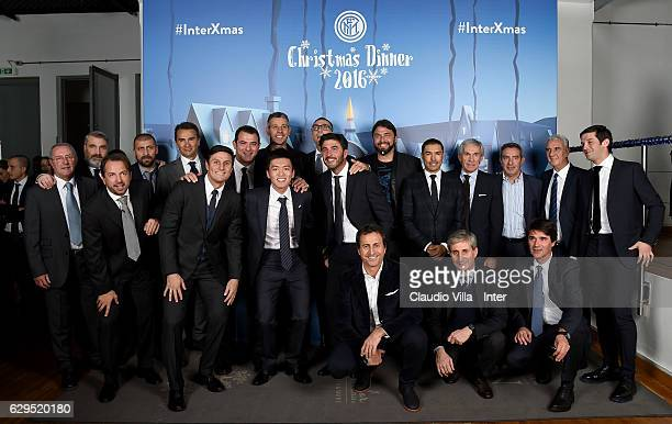 Players of Inter Forever with FC Internazionale Milano board member Steven Zhang Kangyang and Vice president Javier Zanetti pose for a photo during...