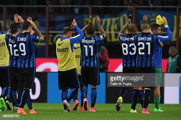 Players of Internazionale Milano greets supporters after losing the Serie A match between FC Internazionale Milano and ACF Fiorentina at Stadio...