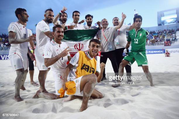 Players of Iran celebrate after the FIFA Beach Soccer World Cup Bahamas 2017 quarter final match between Winner Group A and Runner Up Group B at...