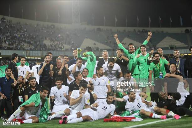 players of Iran celebrate after the match during FIFA 2018 World Cup Qualifier match between Iran and Uzbekistan at Azadi Stadium on June 12 2017 in...