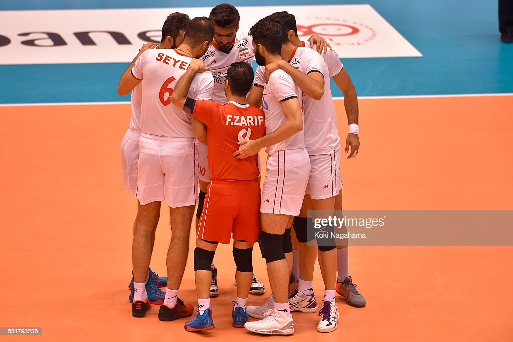 Players of Iran form a huddle during the Men's World Olympic Qualification game between Iran and Australia at Tokyo Metropolitan Gymnasium on May 28, 2016 in Tokyo, Japan.