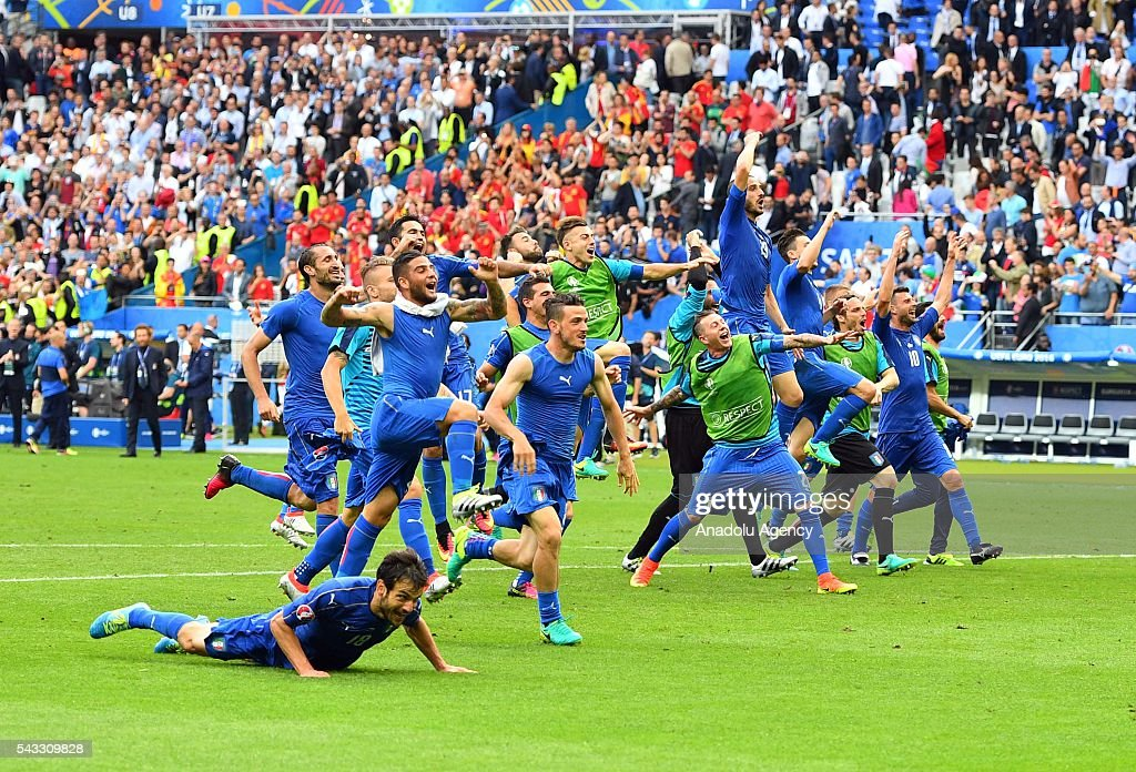 Players of Italy celebrate after the UEFA Euro 2016 round of 16 football match between Italy and Spain at Stade de France in Paris, France on June 27, 2016.