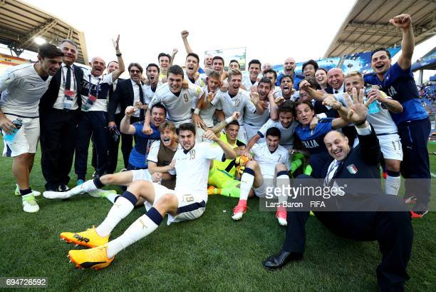 Players of Italy celebrate after winning the FIFA U20 World Cup Korea Republic 2017 3rd rank playoff match between Uruguay and Italy at Suwon World...