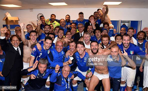 Players of Italy celebrate at the end of the UEFA EURO 2016 Qualifier between Italy and Norway on October 13 2015 in Rome Italy