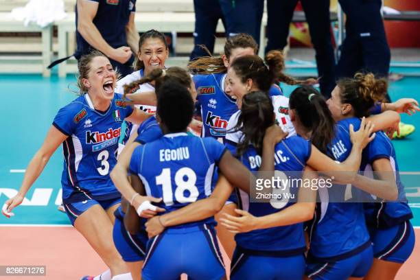 Players of Italy celebrate during 2017 Nanjing FIVB World Grand Prix Finals between China and Italy on August 5 2017 in Nanjing China