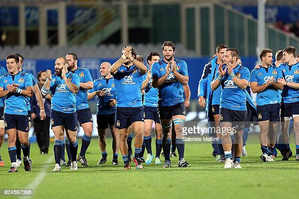 Players of Italy celebrate the victory during the international match between Italy v South Africa at Stadio Olimpico on November 19 2016 in Rome...