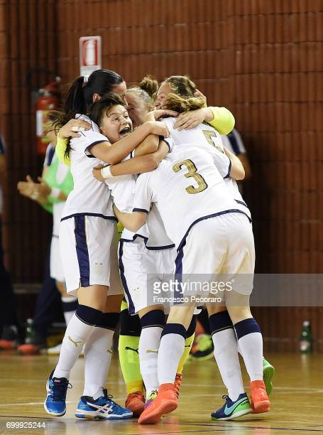 Players of Italy celebrates after Marfil Errico scored the 10 goal during the U17 Women Futsal Tournament match between Italy and Kazakhstan on June...