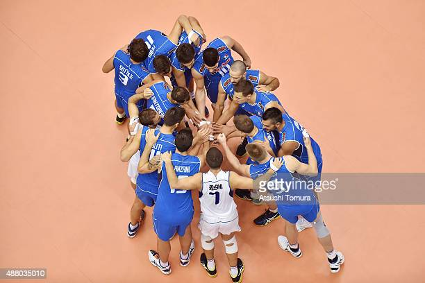 Players of Italy huddle before the match in the match between Italy and Japan during the FIVB Men's Volleyball World Cup Japan 2015 at the Hiroshima...