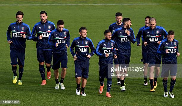 Players of Italy in action during the Italy training session at the club's training ground at Coverciano on March 22 2016 in Florence Italy