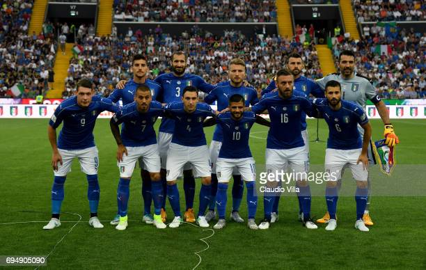 Players of Italy line up prior to the during the FIFA 2018 World Cup Qualifier between Italy and Liechtenstein at Stadio Friuli on June 11 2017 in...