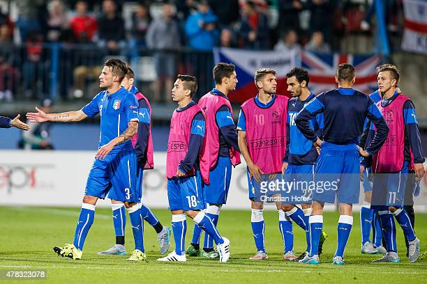 Players of Italy look dejected after the UEFA Under21 European Championship 2015 match between England and Italy at Andruv Stadium on June 24 2015 in...