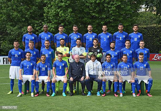 Players of Italy pose for a team photo ahead of the UEFA Euro 2016 at Coverciano on June 1 2016 in Florence Italy