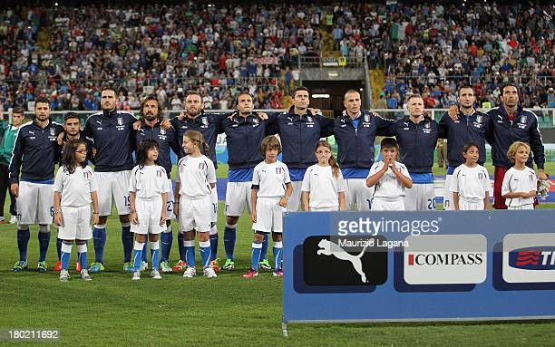 Players of Italy sing the national anthem before the FIFA 2014 World Cup Qualifier group B match between Italy and Bulgaria at Renzo Barbera Stadium...