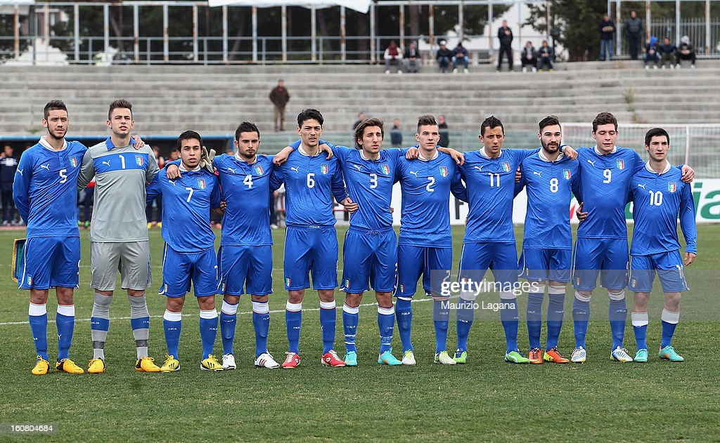Players of Italy sing the national anthem before U20 International Friendly match between Italy and Germany at Stadio Cosimo Puttilli on February 6, 2013 in Barletta, Italy.