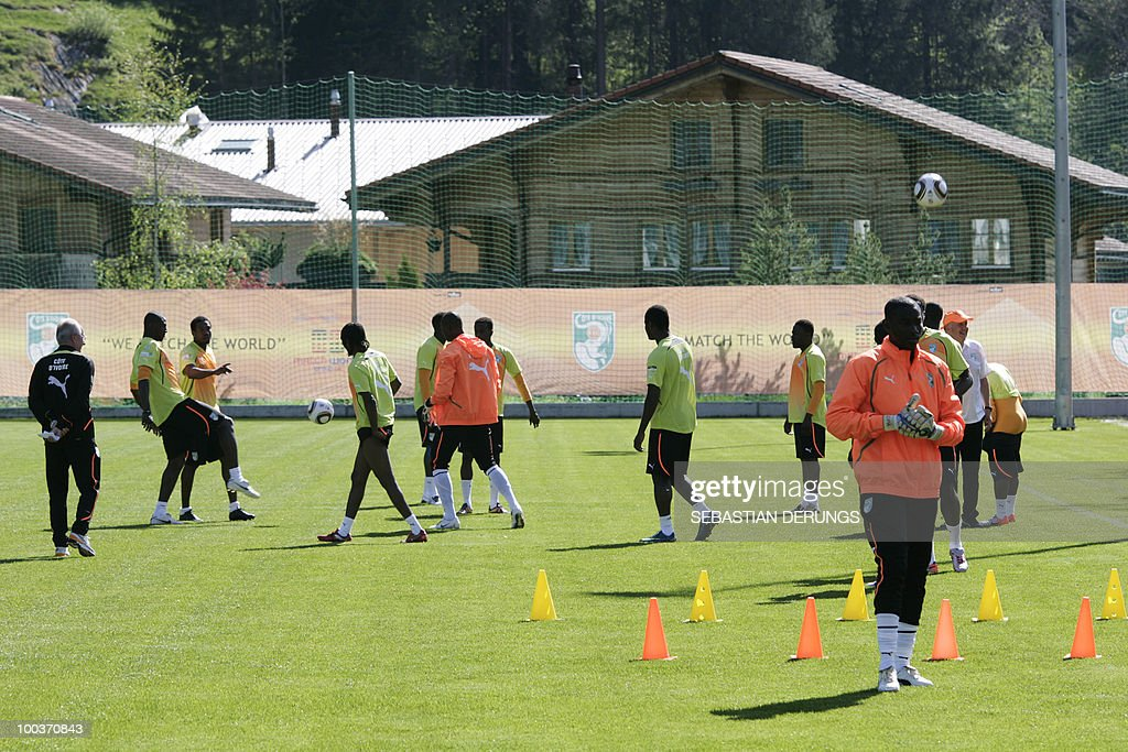 Players of Ivory Coast team train during a practice session on May 24, 2010 in Saanen, Switzerland, ahead of the FIFA World Cup 2010 finals in South Africa.
