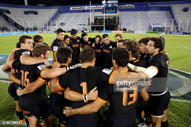 Players of Jaguares have a pregame meeting prior to the 2016 Super Rugby match between Jaguares and Chiefs at Jose Amalfitani Stadium on March 19...