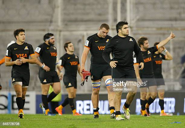 Players of Jaguares leave the field after a match between Jaguares and Highlanders as part of Super Rugby Rd 16 at Jose Amalfitani Stadium on July 09...
