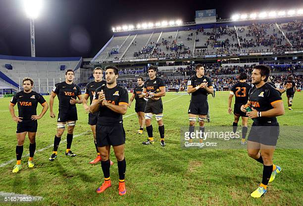 Players of Jaguares leave the field after the 2016 Super Rugby match between Jaguares and Chiefs at Jose Amalfitani Stadium on March 19 2016 in...