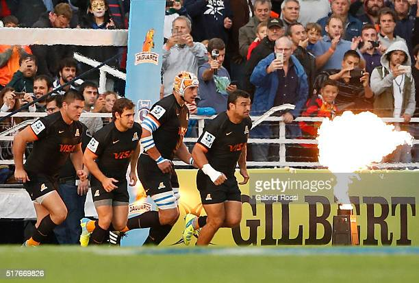 Players of Jaguares walk onto the field prior the 2016 Super Rugby match between Jaguares and Stormers at Jose Amalfitani Stadium on March 26 2016 in...
