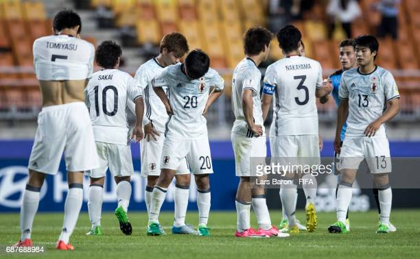 Players of Japan are looking dejected after loosing the FIFA U20 World Cup Korea Republic 2017 group D match between Uruguay and Japan at Suwon World...