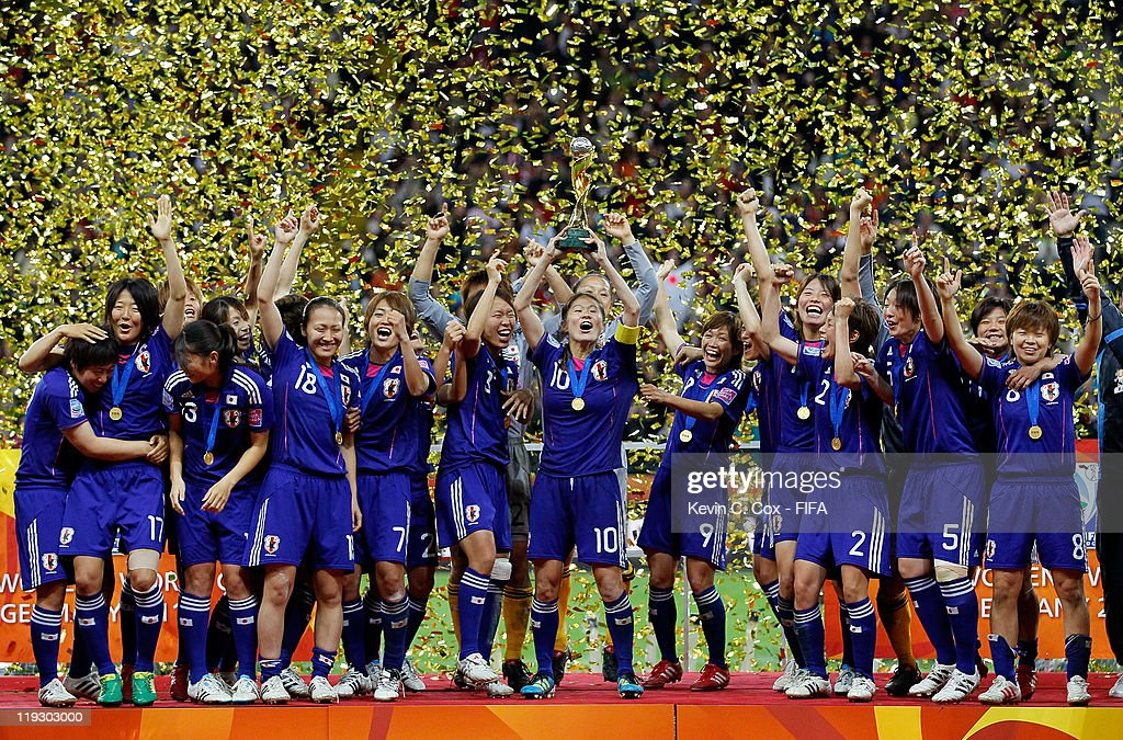 Players of Japan celebrate after defeating USA for the FIFA Women's World Cup Final match between Japan and USA at the FIFA World Cup Stadium Frankfurt on July 17, 2011 in Frankfurt am Main, Germany.