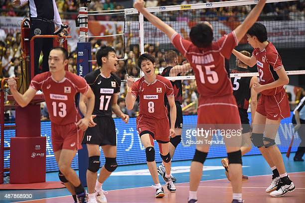 Players of Japan celebrate after winning a point in the match between Japan and Canada during the FIVB Men's Volleyball World Cup Japan 2015 at the...