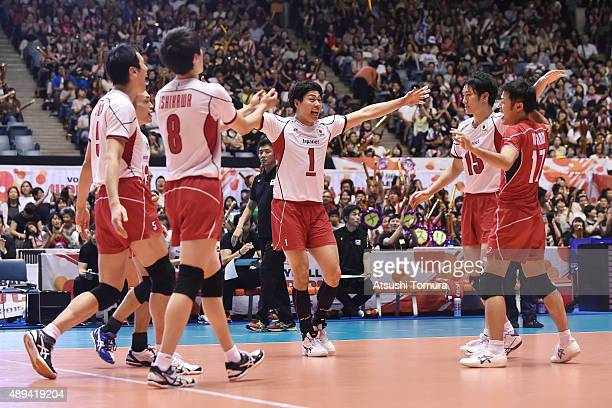 Players of Japan celebrate after winning a point in the match between Japan and Argentina during the FIVB Men's Volleyball World Cup Japan 2015 at...