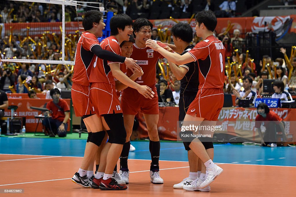 Players of Japan celebrate after winning during the Men's World Olympic Qualification game between Japan and Venezuela at Tokyo Metropolitan Gymnasium on May 28, 2016 in Tokyo, Japan.