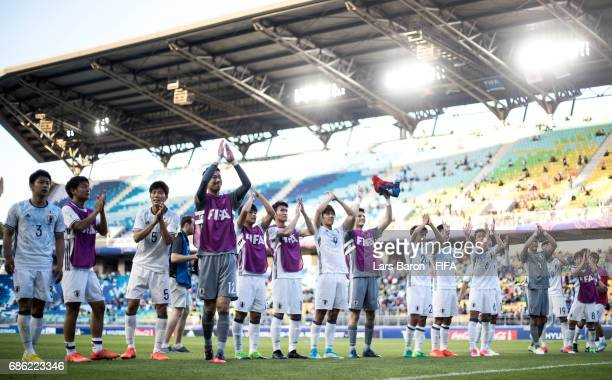 Players of Japan celebrate after winning the FIFA U20 World Cup Korea Republic 2017 group D match between South Africa and Japan at Suwon World Cup...