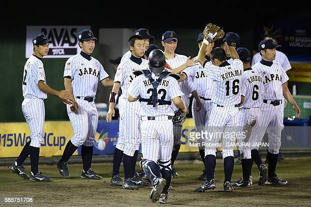 Players of Japan celebrate in the top half of the sixth inning in the super round game between Japan and Venezuela during The 3rd WBSC U15 Baseball...